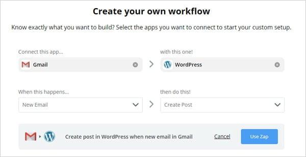 Post from Gmail to WordPress using Zapier