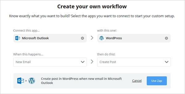 Post from Outlook to WordPress using Zapier