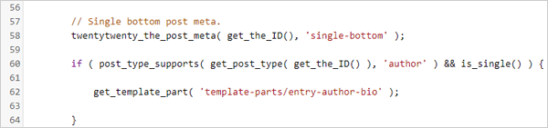 Author bio code in content.php file