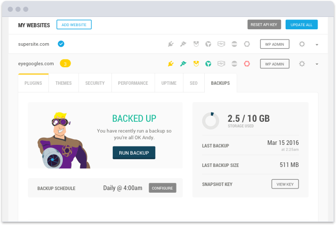 Manage all your backups in one easy place