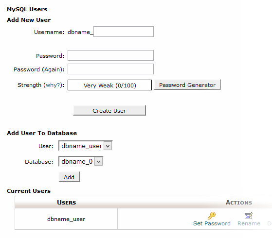 Multi-DB cPanel Add Users