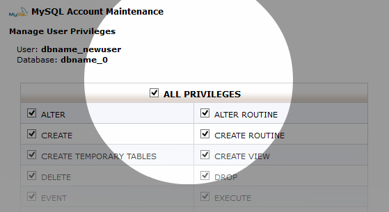 Multi-DB cPanel Grant User Privileges
