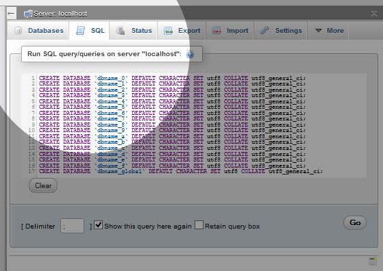 Multi-DB Create in phpMyAdmin