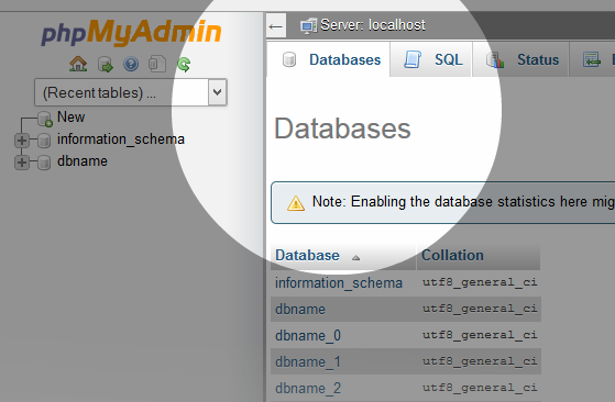 Multi-DB phpMyAdmin New DBs Created