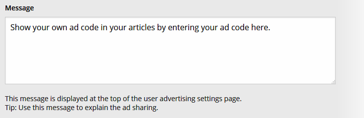 Ad Sharing Settings - Message