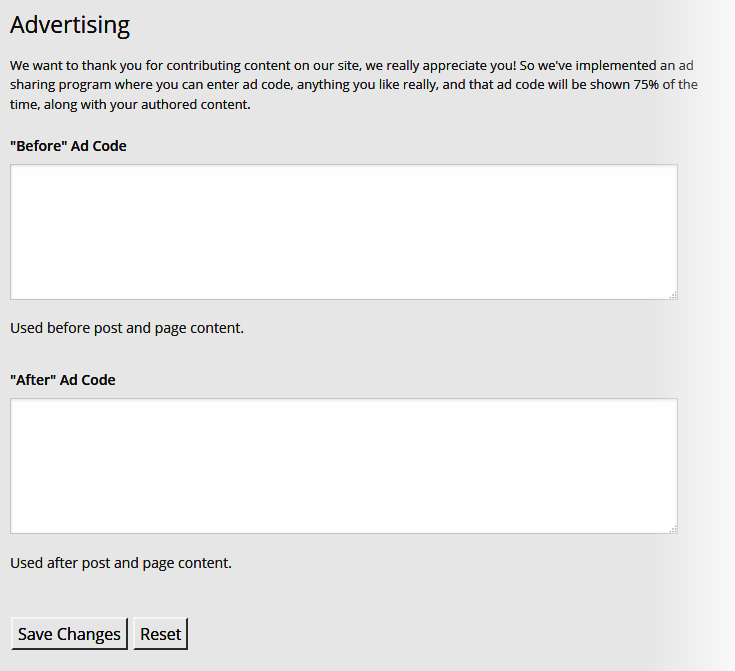 Ad Sharing - User Advertising settings