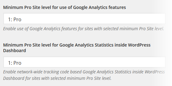 Analytics - Network Settings - Pro Sites