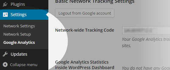 Analytics - Network Settings menu