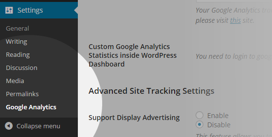 Analytics - Settings menu