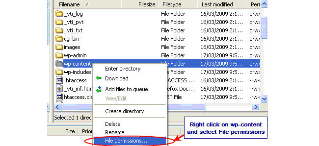 Image of changing file permissions