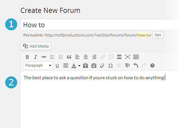 1. Forum title. 2. Forum description.