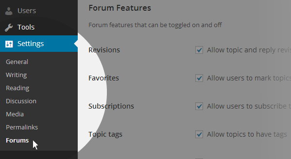 Settings forum dash