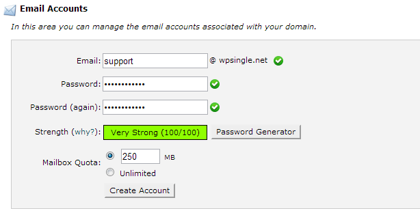Create your email account