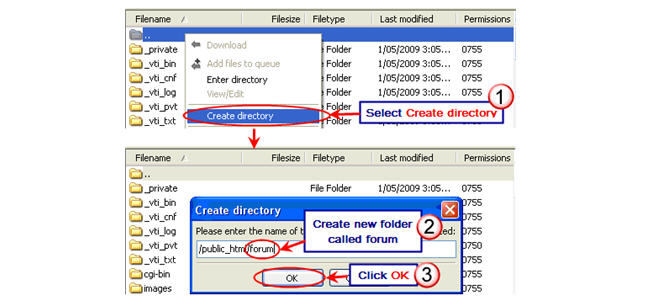 Image of creating forum directory