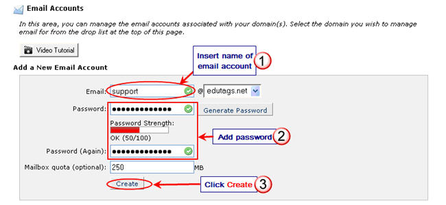 Image of setting up email account in cPanel