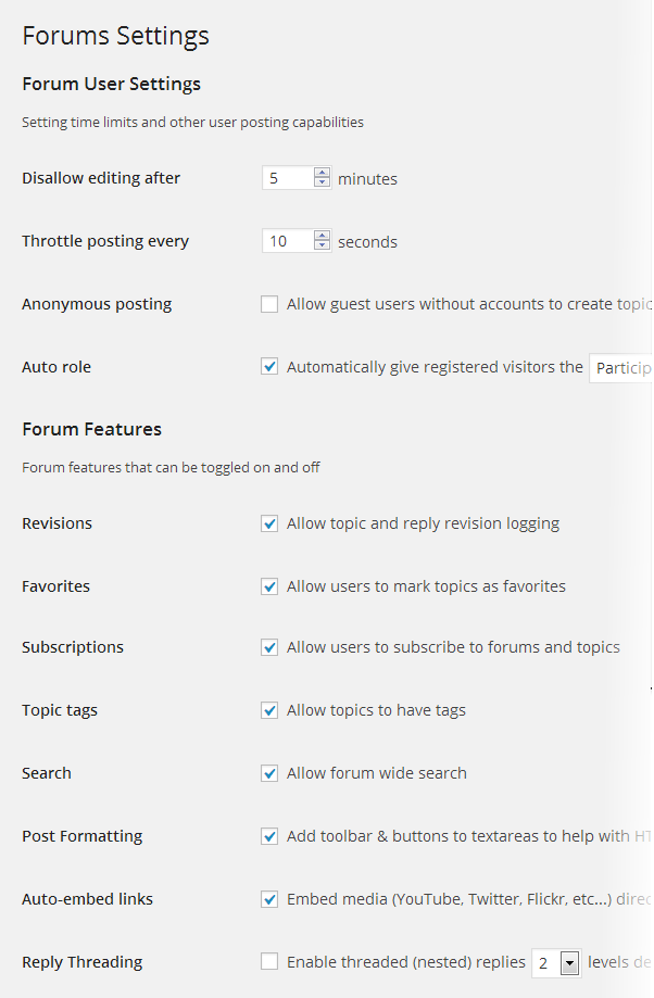 forums user settings