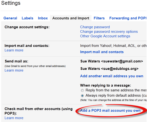 Click on add POP3 mail account