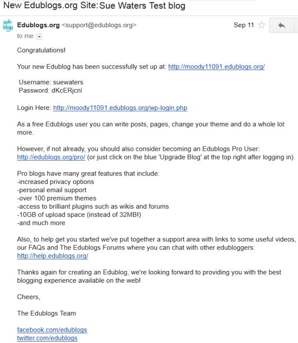 Edublogs email