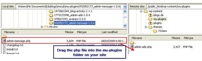 Image of uploading mu-plugin