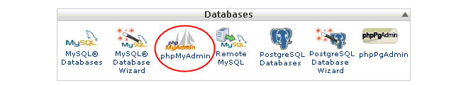 Image of MyPHPadmin in cPanel