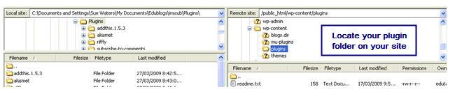 Image of plugin folder on WPMU