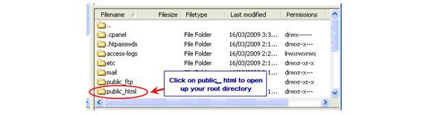 Image of public_html folder