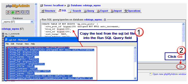 Image of running a SQL code on your database