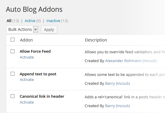 Autoblog Addons