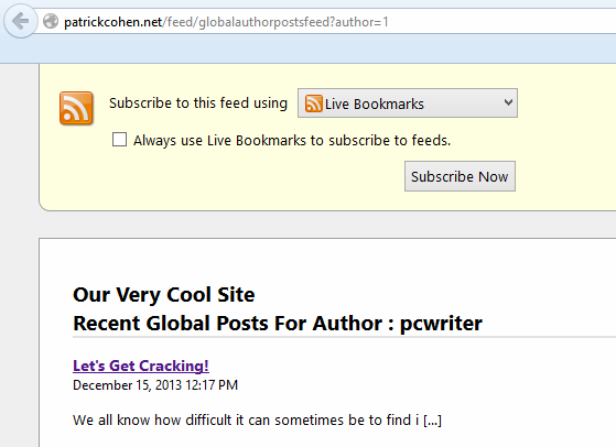 Global Author Posts Feed