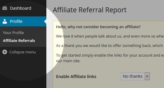 Affiliate referrals menu