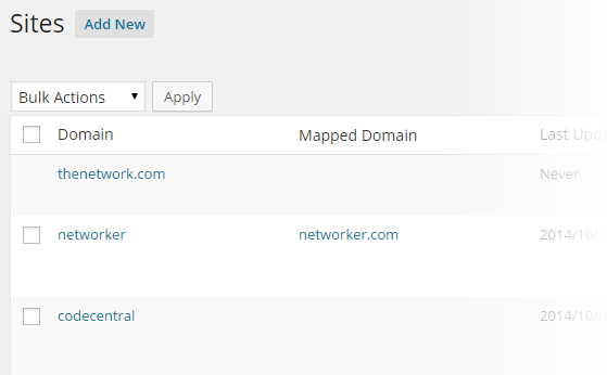 Domain Mapping - Sites list domains