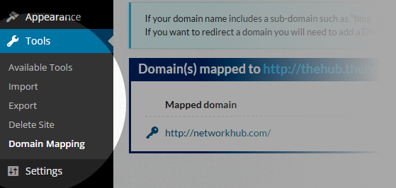 Domain Mapping - Tools Domain Mapping menu