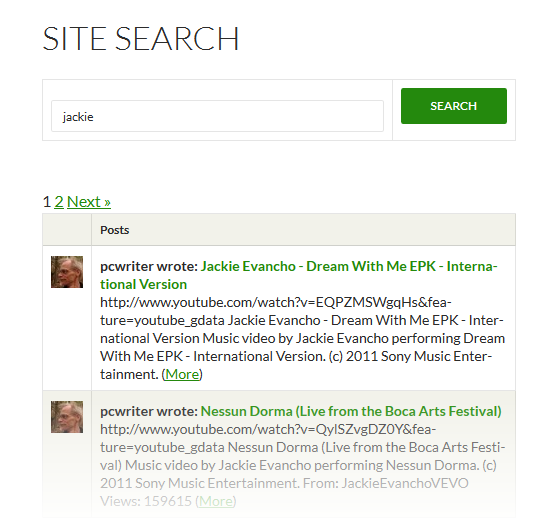 Global Site Search Results
