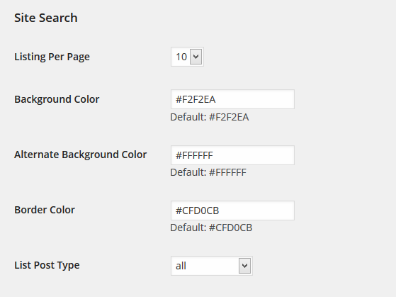 Global Site Search Settings