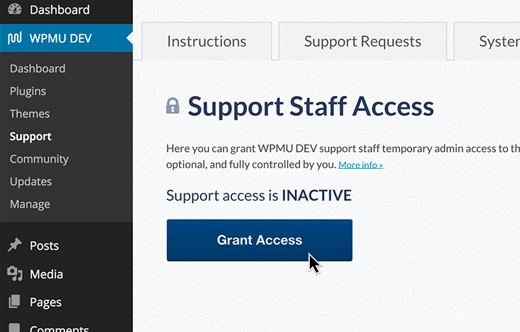 Give temporary access to our support team and we'll fix you up.