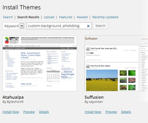 Theme search tags