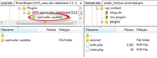 Locate the wpmudev-updates folder