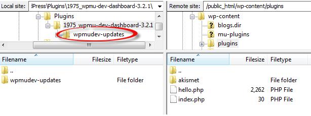 Locate the wpmudev-updates folder