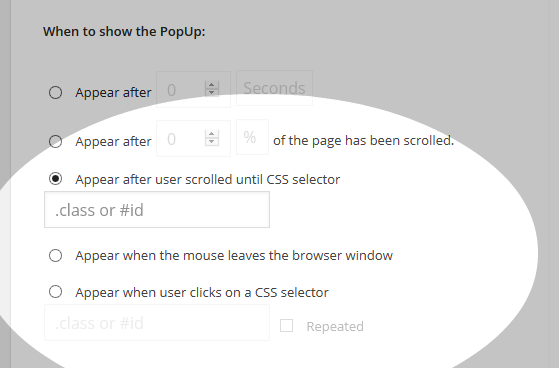 PopUp Pro - Add New - Behavior - Javascript events