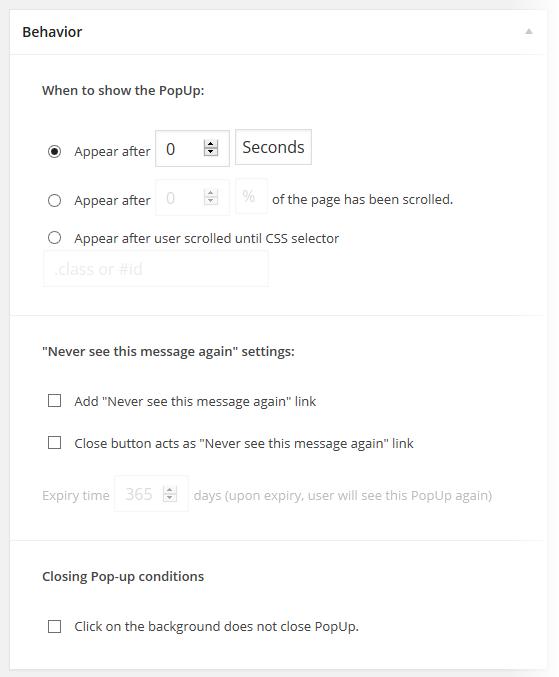 PopUp Pro - Add New - Behavior
