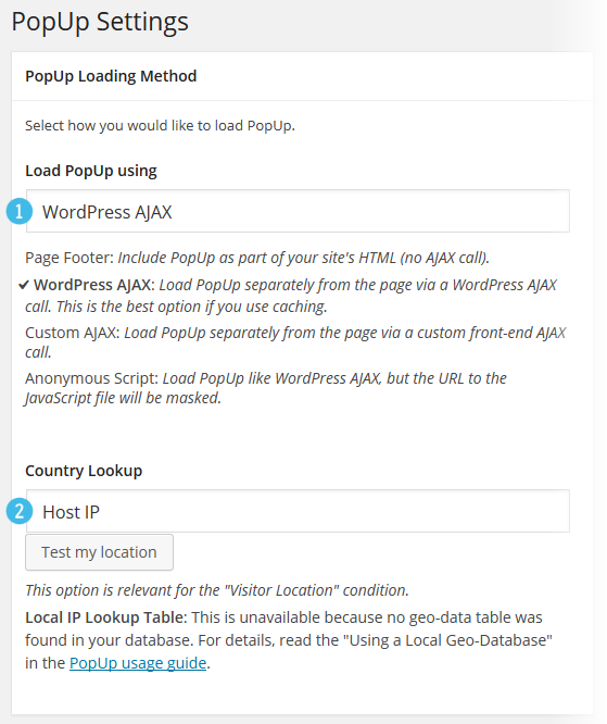 PopUp Pro - Settings - Loading Method