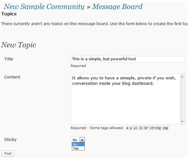 Creating a topic on the message board
