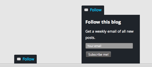 Screen grabs of the Follow Button and the pop-up form when clicked