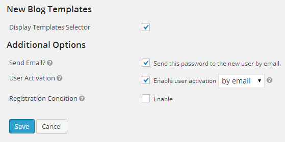 Template Selector & Additional Options