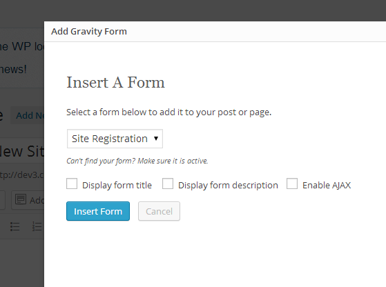 Add Form - Select Gravity Form