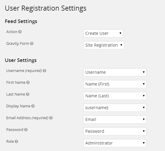 User Settings Setup
