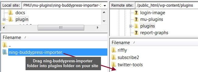 Upload ning-import folder to plugins directory