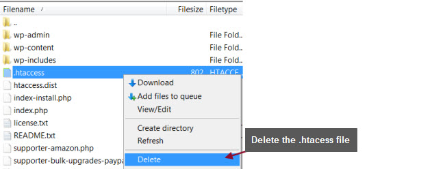 Delete .htaccess file