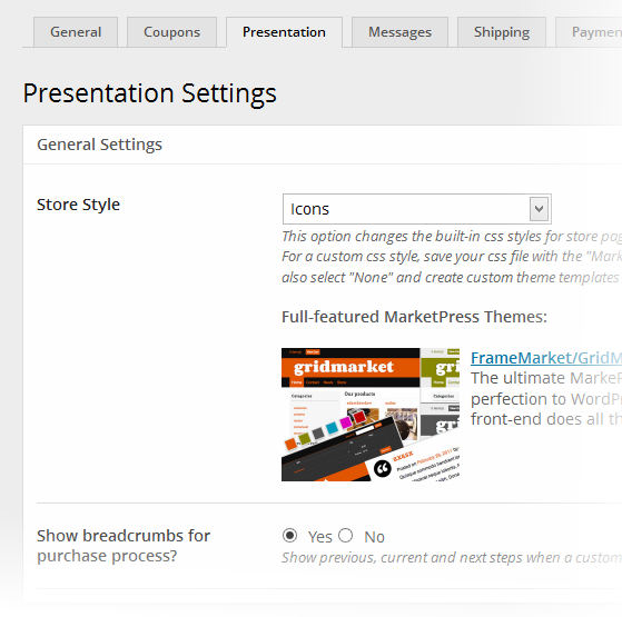 Marketpress Presentation Settings
