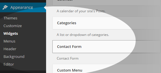 Contact Widget - widgets section